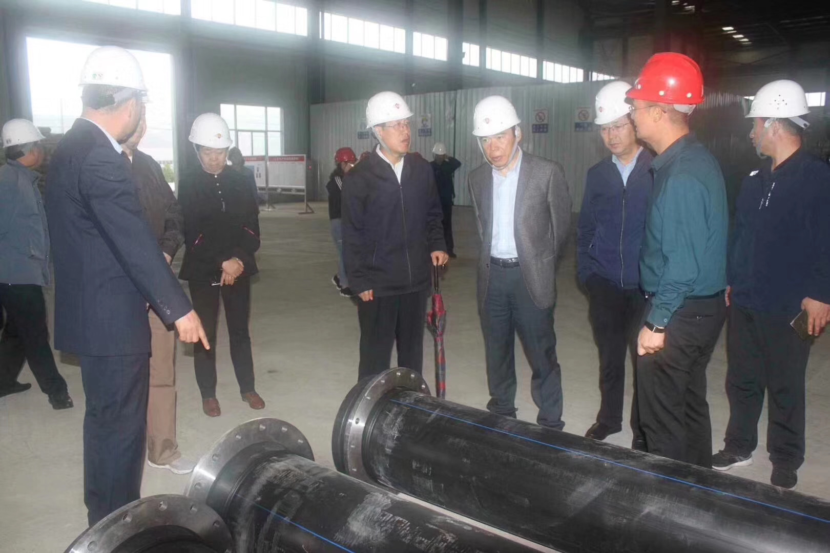 Officers visited TENGYUAN GROUP's production base--Gansu Tengyuan Building Materials Technology Co., Ltd. General manager Mr.Bian Zhiqiang accompanied for their